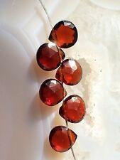 NATURAL RED GARNET Faceted GEMSTONE BRIOLETTES 5.5mm Heart Drops - 6 Briolettes