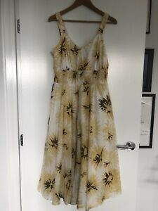 Yarra Trail Yellow Floral Sleeveless Dress Size 12
