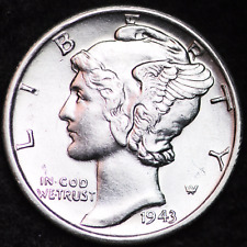 1943-S AU MERCURY DIME / SAN FRANCISCO MINT ALMOST UNCIRCULATED 90% SILVER COIN