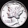 1943-S AU MERCURY DIME / SAN FRANCISCO MINT ALMOST UNCIRCULATED 90% SILVER COIN