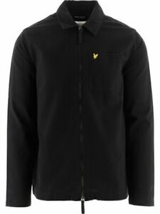 Lyle & Scott Mens Twill Over Shirt in Black Cotton with Long Sleeves