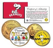 PEANUTS CHARLIE BROWN *60 YEARS* 24K Gold U.S Legal Tender 2-Coin Set *Licensed*