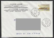 ENVELOPPE 1er JOUR * 1ere LIAISON PARIS-LYON en TGV * 1984