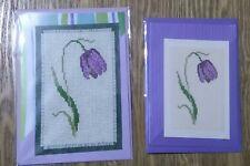 Purple Fritillary Cross Stitched Cards