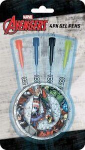 Marvel Avengers 4 Gel Pen Set - Stationery Pen School Bag Back To Comic Book