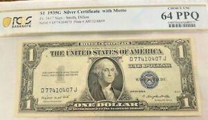 1935 G $1 Silver Certificate Blue Seal No Motto PCGS 64 PPQ