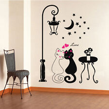 Cute couples aimants chats Cartoon Wall Sticker Amovible Décoration Chambre