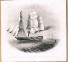 ENGRAVING ADMIRAL SIR CHARLES NAPIER'S FLAGSHIP HMS THE DUKE OF WELLINGTON 1854