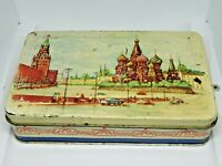 Very Old Soviet Empty Candy Tin Box - Red Square, Moscow, USSR, Russia, 1950s