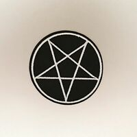 Pentagram Patch — Iron On Badge Embroidered Motif — Goth Punk Emo Star Black