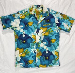 1950's VTG Reef Hawaiian Made White Blue Surf Cool Hibiscus Flowers Shirt Medium