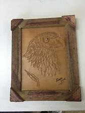 "HAND TOOLED LEATHER ART, EAGLE #2 ,FRAMED,10""X8"",HAND CRAFTED DECOR,ART,WALL ART"