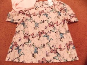 justice - girls size 10 Lace Puff Sleeve Top--butterfly print--nwt