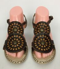 Pikolinos Brown Medallion Wedge Heel Sandals Shoes Size 38  US 7.5/8