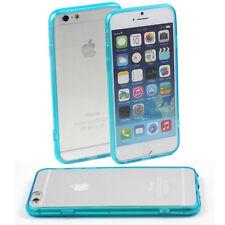 5 x BLUE HARD BACK CASE FITS APPLE iPHONE 6 (4.7) CLEAR TPU SILICONE BUMPER M47