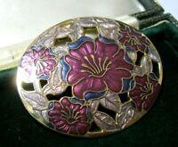 VINTAGE JEWELLERY GORGEOUS CLOISONNE ENAMEL ART NOUVEAU REVIVAL LARGE BROOCH PIN