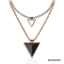 NEW TRIANGLE DUAL BLACK GOLD SPIKE NECKLACE DOUBLE CHAIN BEIGE WOMENS CHOKERS
