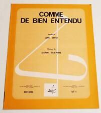 Partition sheet music MICHEL SIMON /  ARLETTY : Comme de Bien Entendu * 30's