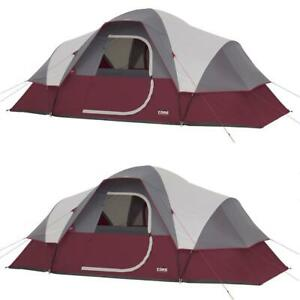 CORE Dome Camping Tent Air Vents 9 Person Extended 2 Pack Red 16 ft. x 108""