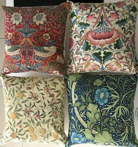 "Handmade William Morris Cushion Covers Fruit Strawberry Thief Fabric 16"" x 16"""
