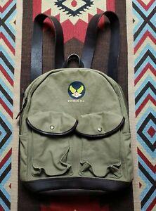 Double RL Ralph Lauren RRL Leather Trimmed Military Backpack Bag