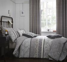 BANDED FLORAL LEAVES CHARCOAL GREY BEIGE CREAM KING SIZE DUVET COVER