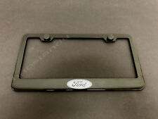 1x FORD LOGO BLACK Stainless Metal License Plate Frame + Screw Caps