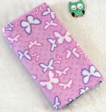 Handcrafted, Flannel Pink Butterfly Print & Purple Minky Bubble Baby Burp Cloth