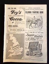 1899 Original Newspaper Advert Page FRY'S COCOA, OGDEN'S CIGARETTES