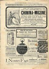 Stampa antica pubblicità CHININA MIGONE TALISMAN e altro 1894 Old antique print