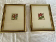 More details for pictures pair silk kensitas flowers framed produced by wickes circa 1930s