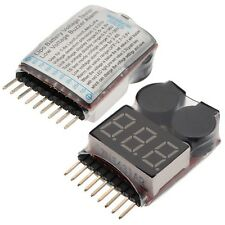 2 x RC Lipo Battery Low Voltage Alarm 1S-8S Buzzer Indicator Checker Tester LED