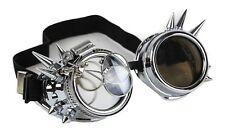 Steampunk Victorian Welding Spike Silver Goggles 2X Lens Scissors Cosplay