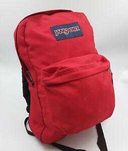 JanSport 90s Vintage Backpack - RED Nylon Small Light School Bag USED - Hiking