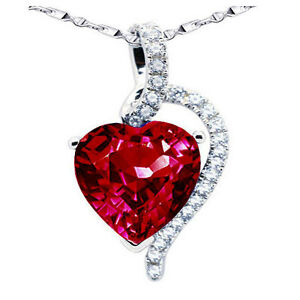 """Sterling Silver 4.10Ct Created Ruby Heart Cut Pendant Necklace w/ 18"""" Chain"""