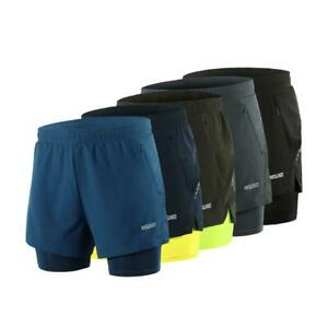 Men's Breathable Running Shorts 2 in1 Running Sports Shorts with Liner
