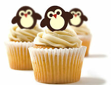 ✿ 24 Edible Rice Paper Cup Cake Toppings, Cake decs - Penguin ✿