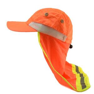 High Visibility Reflective Neck Flap Safety Baseball Neon Orange Hats Bump Cap