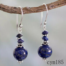 Women 925 Plated Silver Vintage Lapis lazuli Round Beads Dangle Earrings Jewelry