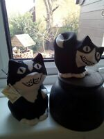 2 X Dalton Pottery Black & White Cat Vase + Candle Holder Scotland Jenny Finch