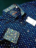 Robert Graham Colorful Hexagon Print Navy Blue Sport Shirt $199 2XL