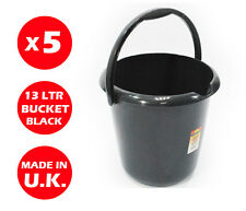 5 x 13 LITRE PLASTIC STORAGE BUCKET - WITH HANDLE - WASTE - WATER - LARGE -BLACK