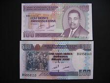 BURUNDI  100 + 500 Francs 2011  (P44b + P45b)  UNC