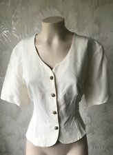 TRUE VINTGE 1980S SIZE 16 IVORY JACKET TOP BHS BRITISH HOME STARS MADE BRITAIN