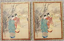 lot 2 Seasons Greetings Cards (Japanese Lady Ladies, Caspan, Christmas Holiday)
