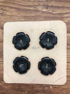 Vintage FLOWERS Black Brown Plastic Bakelite Buttons noc 4pcs