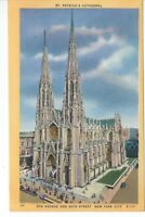 CA-439 NY, New York City, St. Patrick's Cathedral Linen Postcard Old Cars People