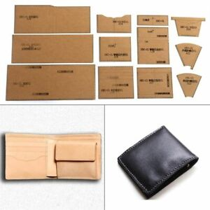 1 Set DIY Kraft Paper Template 10x11cm Short Wallet Leather Craft Sewing Pattern