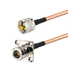 2-Pack N Type Female 4 Hole Flange Mount to UHF PL-259 Male RG400 RF Cable 30cm