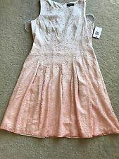 NEW NWT Ivanka Trump lacy dress sleeveless nylon 14 L LARGE zipper peach color